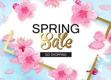 Spring sale vector banner design with flowers and frame. Cherry blossoms and blue sky background. Spring sale vector banner design with flowers and frame Royalty Free Stock Image