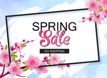 Spring sale vector banner design with flowers and frame. Cherry blossoms and blue sky background. Spring sale vector banner design with flowers and frame royalty free illustration