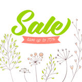 Spring sale vector banner design. Green text on Royalty Free Stock Photo