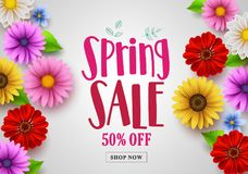 Spring sale vector banner design with template background stock illustration