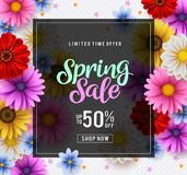 Spring sale vector banner template with colorful chrysanthemum and zinnia flowers elements stock photos