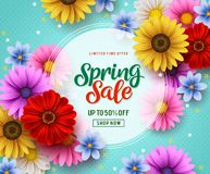 Spring sale vector banner template with colorful flowers elements like chrysanthemum and daisy stock images