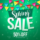 Spring sale vector design with hanging colorful streamers Stock Photography