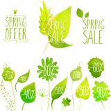 Spring sale vector green elements, labels and. Badges. Hand painted with watercolor plants, twigs, leaves Royalty Free Stock Photos