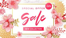 Spring Sale Vector Illustration. Banner With Cherry Blossoms. Spring Sale Vector Illustration. Seasonal Banner With Cherry Blossoms Royalty Free Stock Images