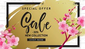 Spring Sale Vector Illustration. Banner With Cherry Blossoms. Spring Sale Vector Illustration. Seasonal Banner With Cherry Blossoms stock illustration