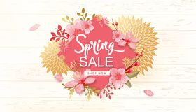 Spring Sale Vector Illustration. Banner With Cherry Blossoms. Spring Sale Vector Illustration. Seasonal Banner With Cherry Blossoms Stock Photo
