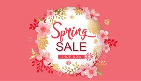 Spring Sale Vector Illustration. Banner With Cherry Blossoms. Spring Sale Vector Illustration. Seasonal Banner With Cherry Blossoms Royalty Free Stock Photography