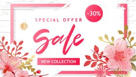 Spring Sale Vector Illustration. Banner With Cherry Blossoms. Spring Sale Vector Illustration. Seasonal Banner With Cherry Blossoms Royalty Free Stock Photo