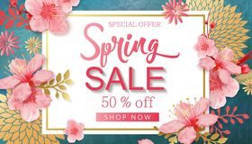 Spring Sale Vector Illustration. Banner With Cherry Blossoms. stock illustration