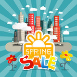 Spring Sale Vector Illustration with City Stock Photography