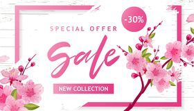 Spring Sale Vector Illustration. Banner With Cherry Blossoms. Spring Sale Vector Illustration. Seasonal Banner With Cherry Blossoms Stock Images
