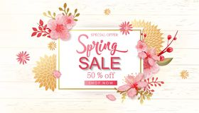 Spring Sale Vector Illustration. Banner With Cherry Blossoms. Spring Sale Vector Illustration. Seasonal Banner With Cherry Blossoms Royalty Free Stock Image