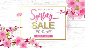 Spring Sale Vector Illustration. Banner With Cherry Blossoms. Spring Sale Vector Illustration. Seasonal Banner With Cherry Blossoms Stock Image