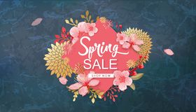 Spring Sale Vector Illustration. Banner With Cherry Blossoms. Spring Sale Vector Illustration. Seasonal Banner With Cherry Blossoms vector illustration