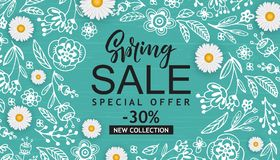 Spring Sale Vector Illustration. Seasonal Banner With Hand Drawn Flowers, Leaves. Stock Photos