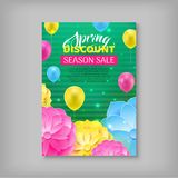 Spring Sale Voucher, Discount. Yellow, pink and blue balls and flowers on green background, a proposal for a season sale. Vector illustration of advertising Royalty Free Stock Image