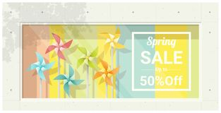 Spring sale window display with colorful pinwheels background Stock Photo