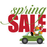 Spring sale Woman driving convertible Stock Image