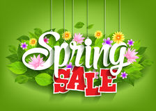 Spring Sale Word Hanging on Leaves with Strings. Vector Illustration Stock Image