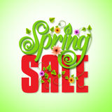 Spring Sale Word for Seasonal Promotion with Flying Leaves Stock Images