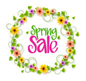 Spring Sale Wreath of Colorful Realistic Vector Flowers and Vines. For Spring and Summer Promotions  in White Background. Vector Illustration Royalty Free Stock Images
