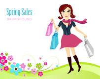 Spring Sales Background. Spring Background With a Shopping Lady Stock Images