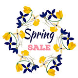 Spring sales background with flowers . Can also be used as a decorative card. Royalty Free Stock Photography