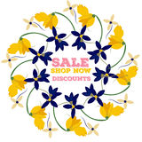 Spring sales background with flowers . Can also be used as a decorative card. Royalty Free Stock Image