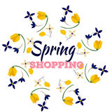 Spring sales background with flowers . Can also be used as a decorative card. Spring sales background with flowersfor shopping. Can also be used as a decorative Royalty Free Stock Photo