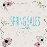 Spring sales banner. With floral ornament Royalty Free Stock Image