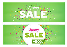 Spring Sales Banners - Seasonal Discount Template Stock Images