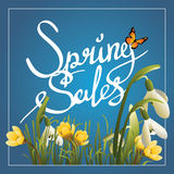 Spring sales callygraphy background or square banner Stock Image