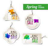 Spring Sales Stickers. Four Spring Sales Stickers For Web Or Print Royalty Free Stock Photography
