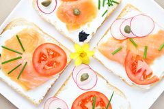 Spring sandwiches Stock Photos