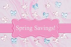 Spring Savings message with pink and blue glass butterflies on pink watercolor paper