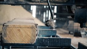 In the spring on a sawmill there is a production of a board stock video