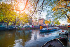 Spring scene in Amsterdam city Royalty Free Stock Photography