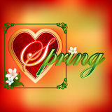 Spring  scene background with heart filled by arabesque Stock Photo