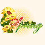 Spring  scene background with Spring text garnished by beautiful yellow flowers Stock Images