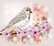 Spring scene with hand drawn bird Stock Photo