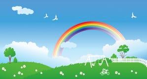 Spring scene with rainbow Stock Photos