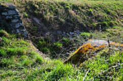 Spring scene. Scene with rocks and nature in spring. With dried up trough Royalty Free Stock Photos