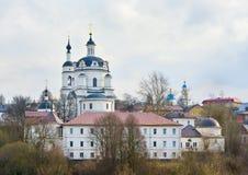 Spring scene in Russia. Nikolsky Chernoostrovsky Convent in small town Malojaroslavets, Kaluga region. Russia royalty free stock photography