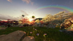 Spring scenery with horses and air balloons stock illustration