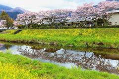Spring scenery of Yufuin Stock Photo