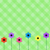 Spring Scrapbook Page. Drawn flowers on pastel green gingham pattern stock illustration