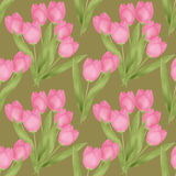 Spring seamless floral tulip pattern on green Stock Image