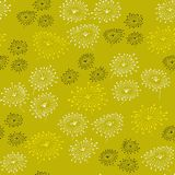 Spring seamless pattern with abstract flowers. Endless yellow background. Template for design and decoration. Stock Photography