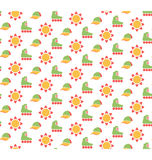 Spring seamless pattern with baseball caps, rollers and suns iso. Lated on white background Stock Photos